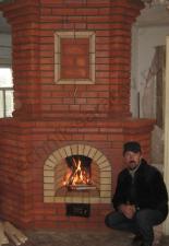 Угловой камин с трёхканальным дымоходом,п.Новый,г.Саратов