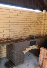 Кухонный комплекс:шашлычница-камин,казанница,столик пос.Тепличный